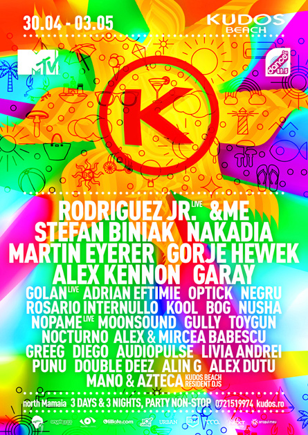 Kudos Beach spring break 1st of may 2015 festival flyer poster design by Alex Tass