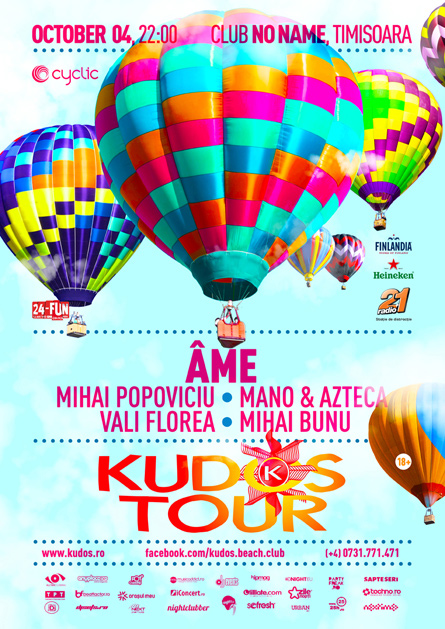 Kudos Tour party series Ame flyer poster design by Alex Tass