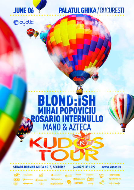 Kudos Tour party series Blondish flyer poster design by Alex Tass
