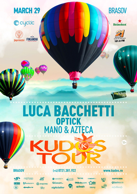 Kudos Tour party series Luca Bacchetti flyer poster design by Alex Tass