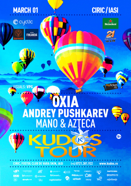 Kudos Tour party series Oxia flyer poster design by Alex Tass