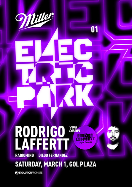 Miller presents ElectricPark Rodrigo Laffertt @ Gol Plaza flyer poster design by Alex Tass