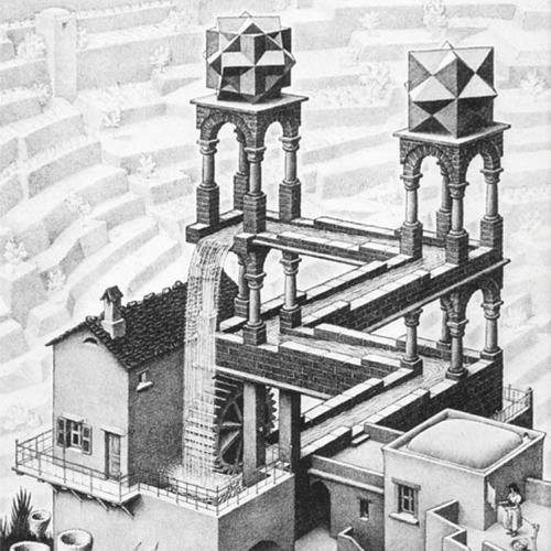 WebArchitecten web design studio online advertising logo design inspiration: Waterfall by M. C. Escher