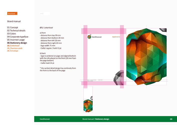 GeoDiscover – GIS, Geographic Information System, TIN, IT company – Logo, identity, brand book manual developed by Alex Tass