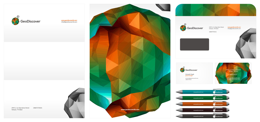 GeoDiscover – GIS, Geographic Information System, TIN, IT company – Logo, stationery, identity design by Alex Tass