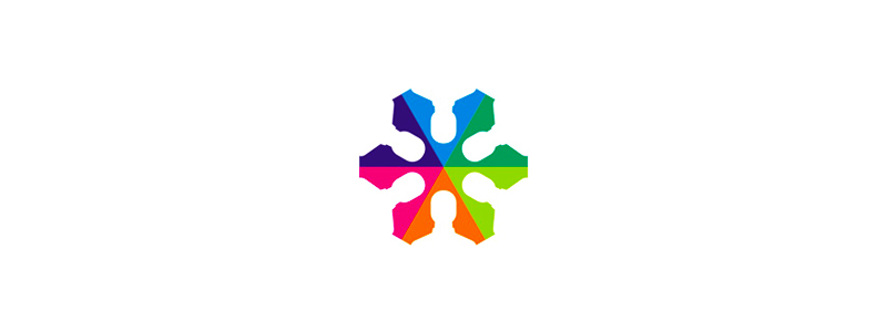 Colorful star, people in negative space, logo design symbol by alex tass