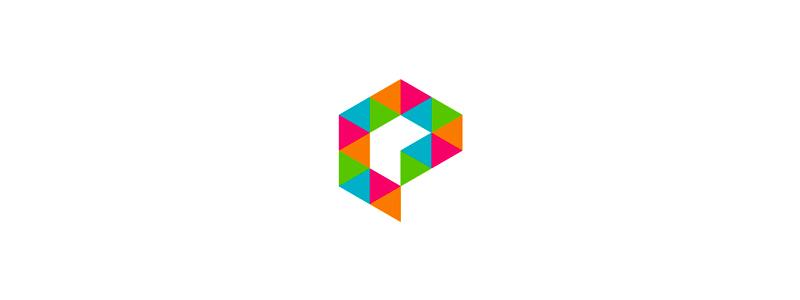 E geometric letter mark for multimedia project logo design by alex tass