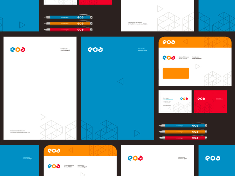 EOD logo and identity design by alex tass