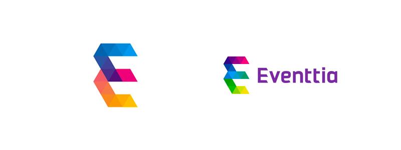 Eventtia, creative technology for events, logo design by alex tass