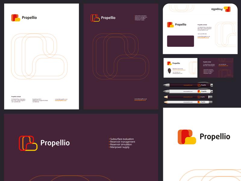 Propeller propellio limited logo stationery identity design by alex tass