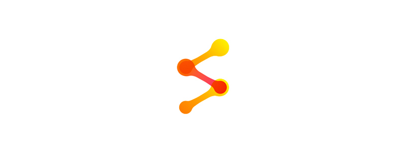 S letter mark dots & connections, logo design symbol by alex tass