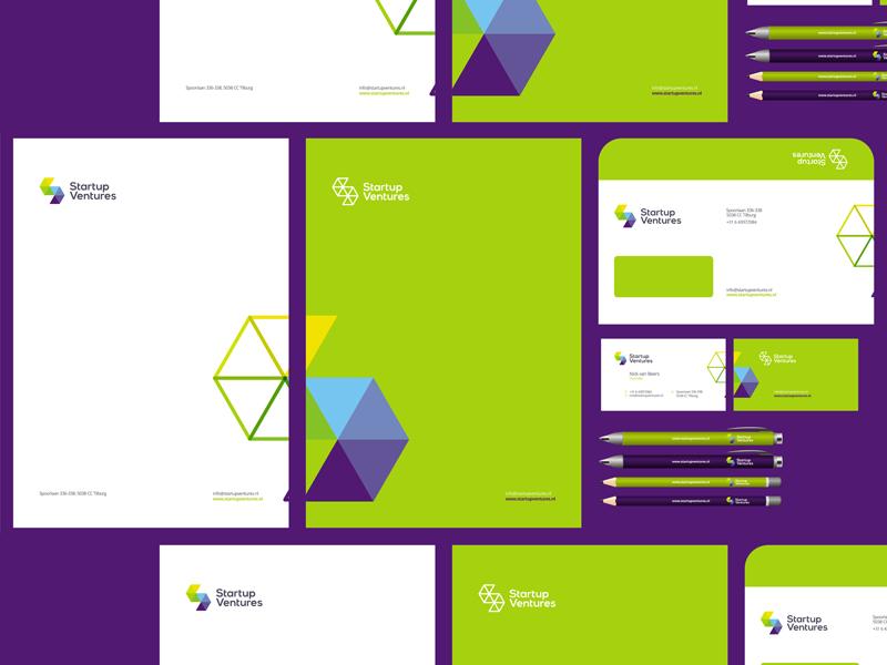Startup ventures logo stationery identity design by alex tass