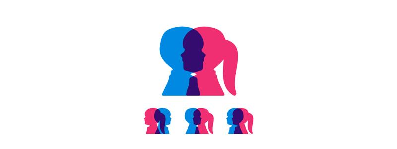 boy girl children genetic research program logo design by alex tass