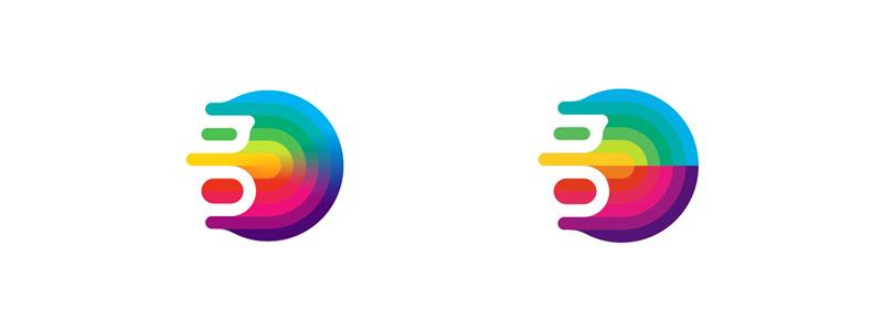 g monogram gravity colorful fluid abstract logo design symbol by alex tass