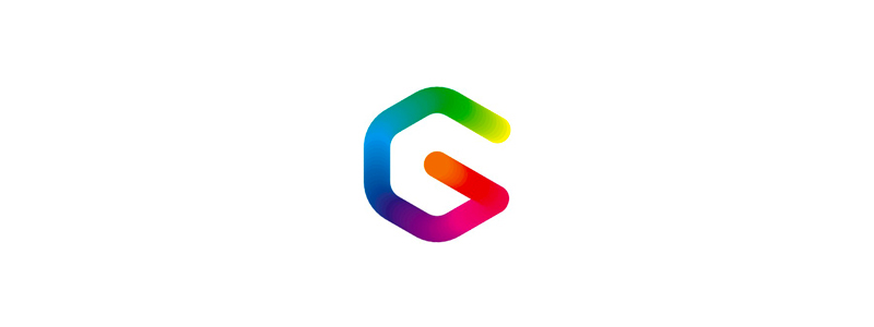 g monogram gravity colorful paths depth logo design symbol by alex tass