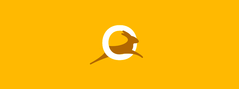 jumping bunny rabbit hare o letter logo design symbol by alex tass