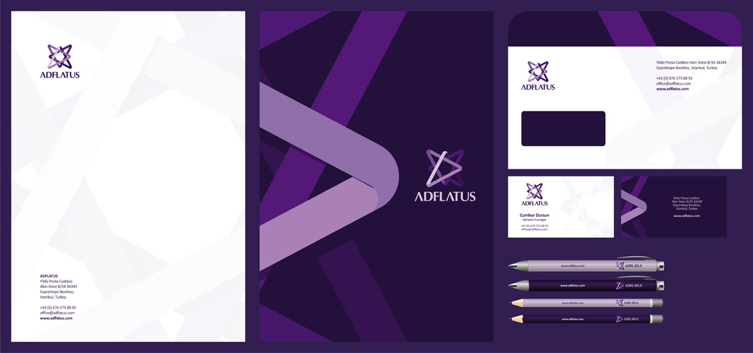 Adflatus interior design studio logo stationery design