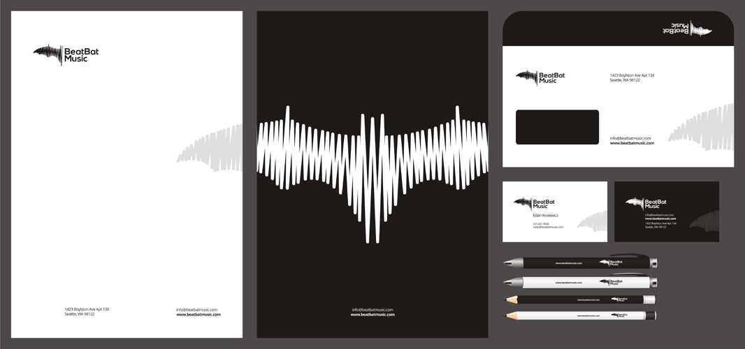 Beat Bat music bookings recordings promotions publishing logo stationery design