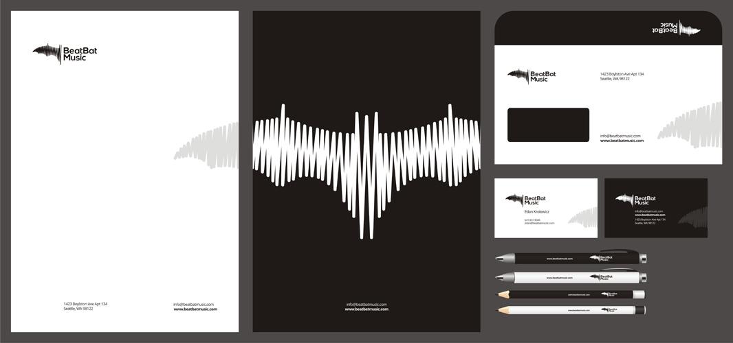 Beat Bat music bookings recordings promotions publishing logo stationery design