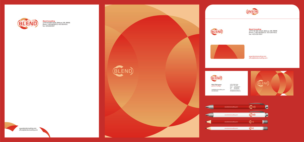Blend consulting management logo stationery design