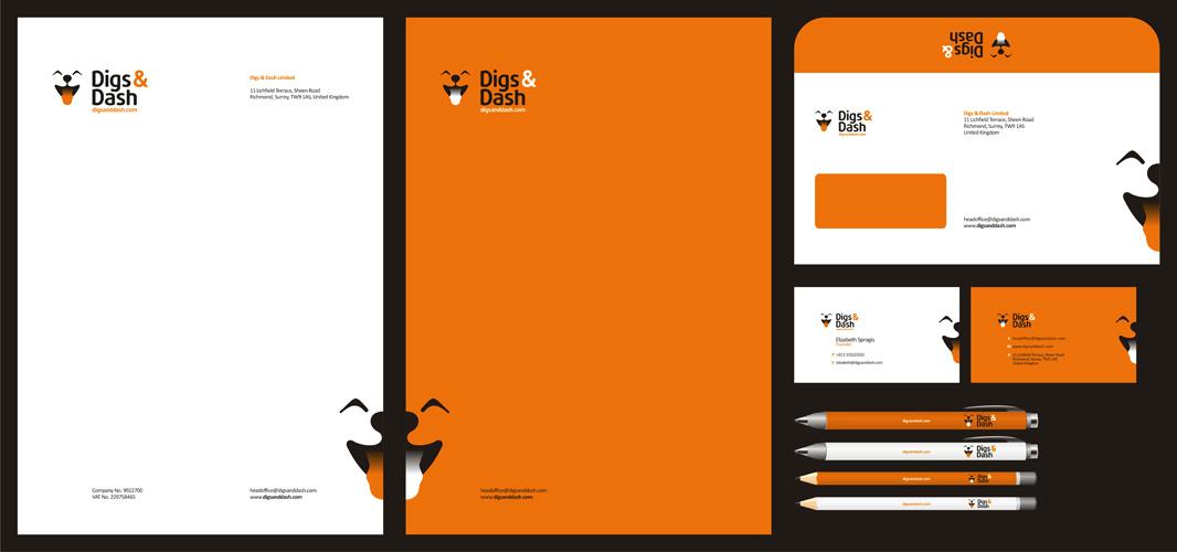 Digs and Dash cute dog smiling pet vet shop logo stationery design