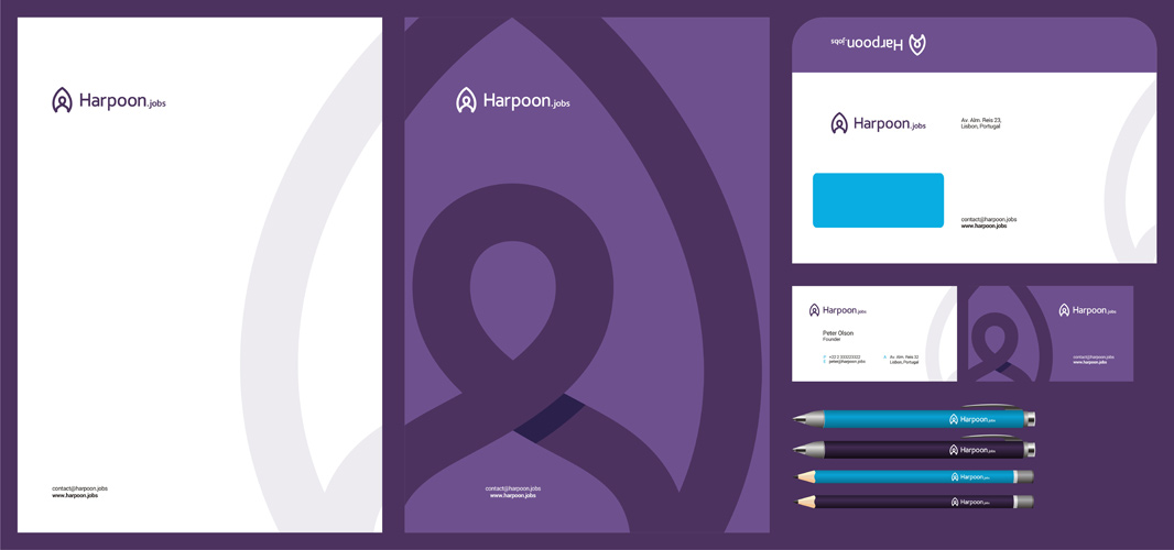 Harpoon jobs headhunting recruitment logo stationery design