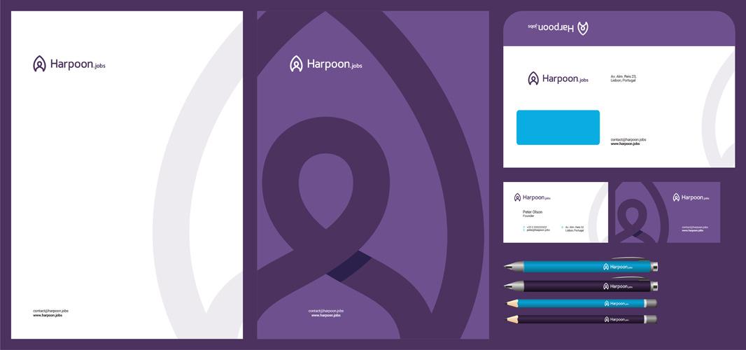 Harpoon jobs headhunting recruitment logo stationery design