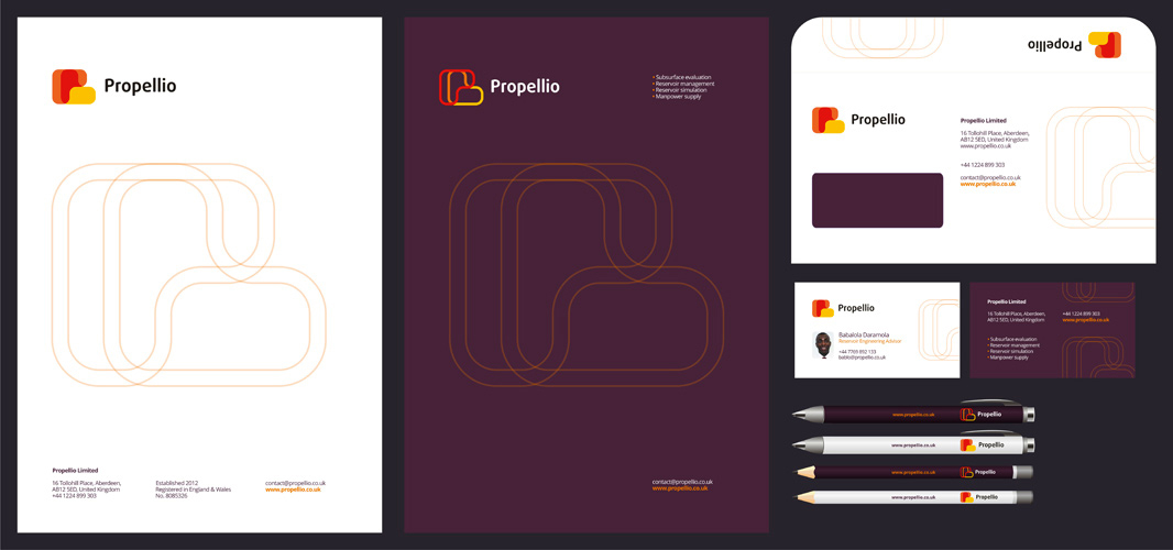 Propellio real estate energy logo stationery design