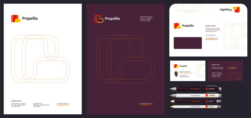 Propellio real estate energy logo stationery design