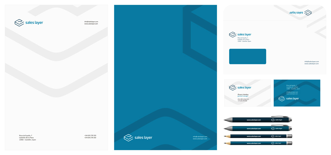 Sales Layer marketing tool application logo stationery design