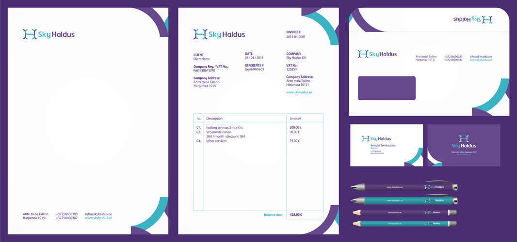 Sky Haldus internet marketing logo stationery identity design by Alex Tass