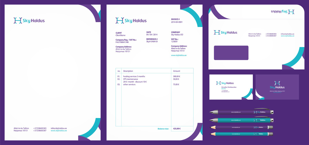 Sky Haldus online marketing logo stationery design