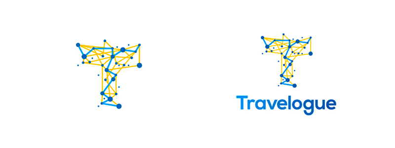 Logo design for an independent freelance travel agent project: T, traveling, dots, paths
