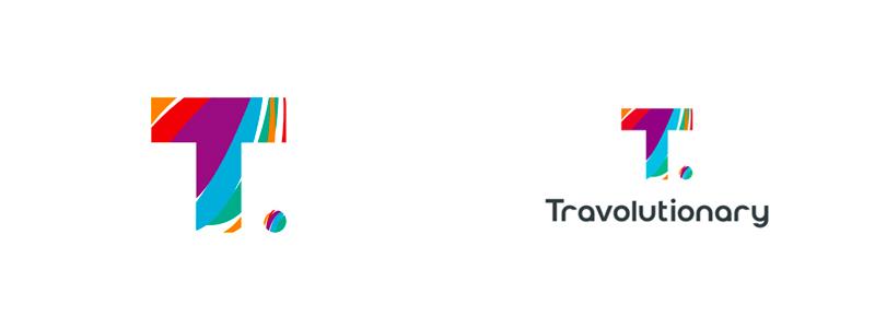 Travolutionary, logo design for travel agency.