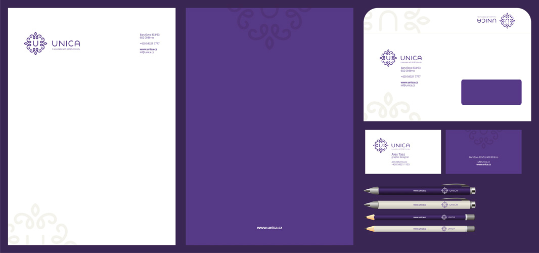 Unica medical fertility clinic stationery design