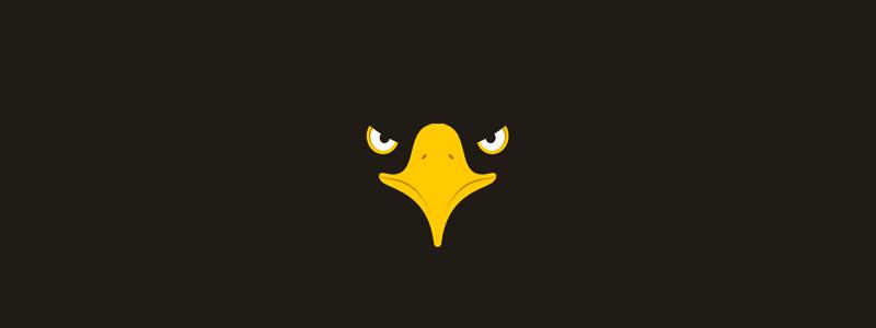 Eagle head in negative space, logo design symbol