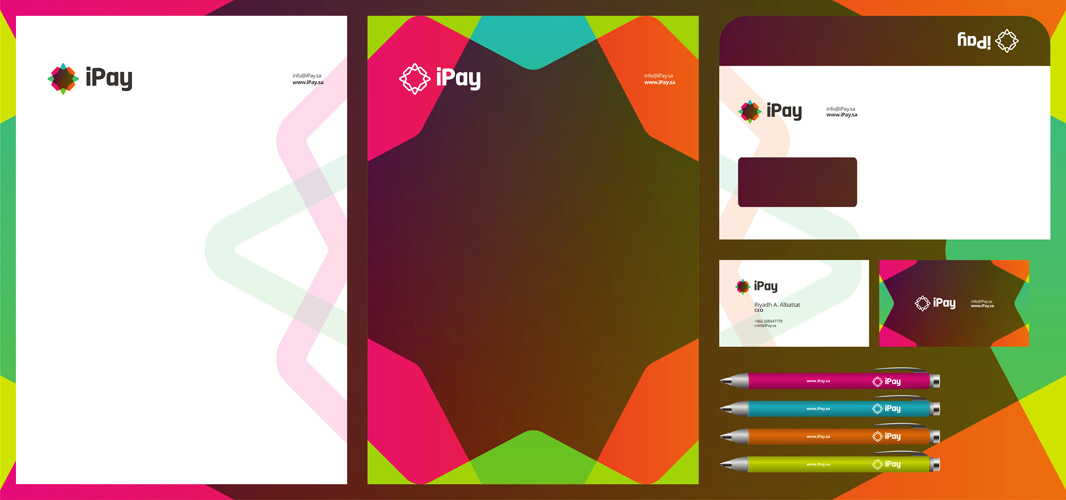 iPay online payments system logo stationery design