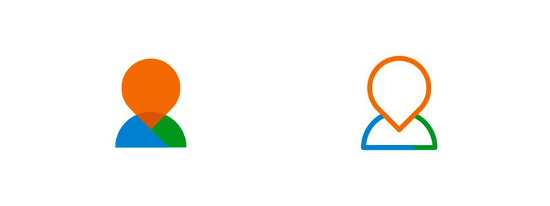 A logo design symbol / icon / mark based on a pin pointer shape combined with a human person silhouette. For the human body shape I have used the colors green and blue representing the earth as a second visual meaning of the mark.