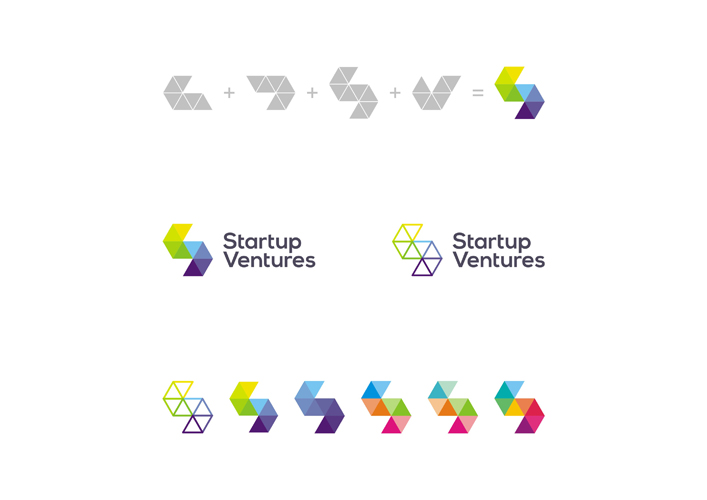 Start up Ventures startups logo design color explorations by Alex Tass