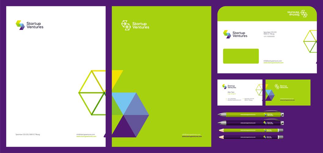 Start up Ventures startups logo stationery design by Alex Tass