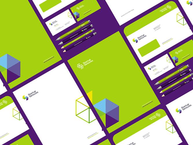 Start up Ventures startups logo stationery identity design by Alex Tass