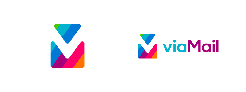 Double VM monogram with letters both in positive and negative space - experimental logo design project for viaMail / via Mail.