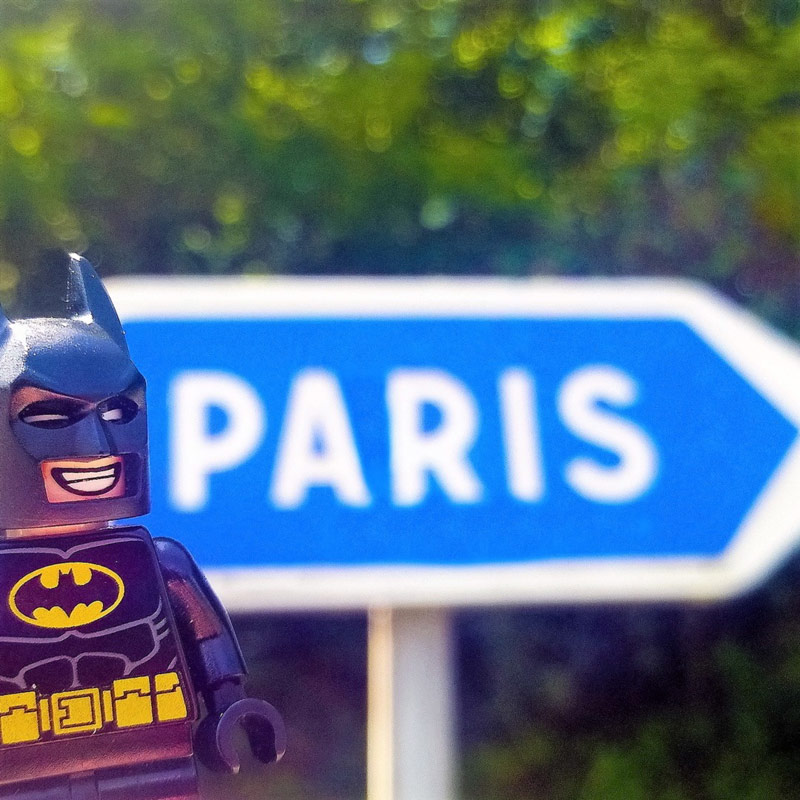 LEGO Batman going to Paris by Alex Tass