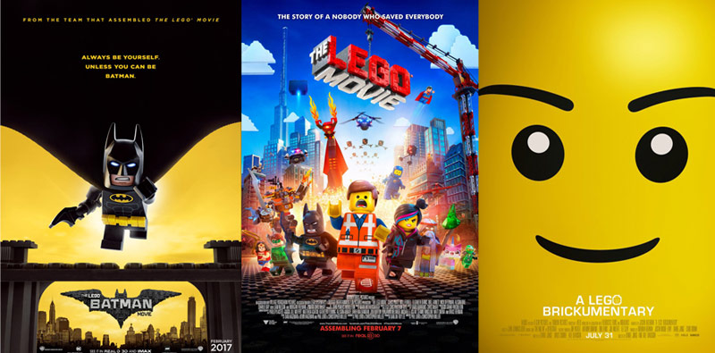 The LEGO Batman, The LEGO movie, A LEGO Brickumentary posters