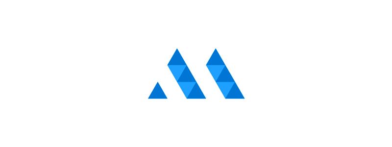 AM, MA geometric letter mark monogram logo design symbol mark icon by Alex Tass