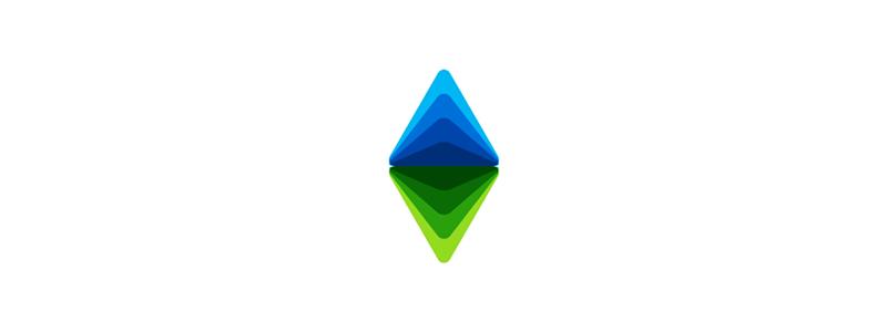 AV monogram, triangles, arrows, logo design symbol mark icon by Alex Tass