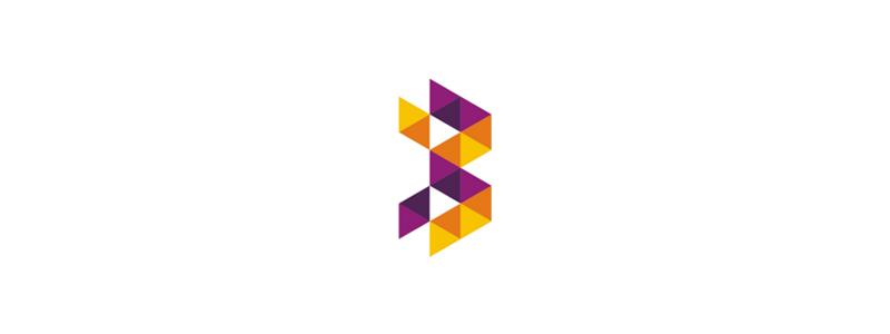 B letter mark, geometric modular logo design symbol mark icon by Alex Tass