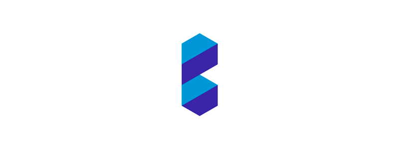 B letter mark geometric shapes stairs logo design symbol mark icon by Alex Tass