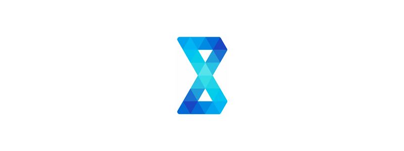 B letter mark, geometric shapes triangles, AI artificial intelligence logo design symbol mark icon by Alex Tass