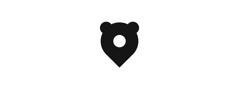 Bear pin pointer, logo design icon by Alex Tass
